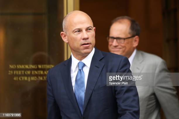 Celebrity attorney Michael Avenatti walks out of a New York court house after a hearing in a case where he is accused of stealing $300000 from a...