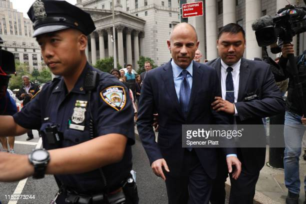 Celebrity attorney Michael Avenatti walks out of a New York court house after pleading not guilty Tuesday in federal court in a case where he is...