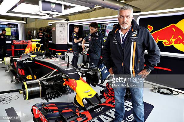 Celebrity baker and TV personality Paul Hollywood stands in the Red Bull Racing garage before the Formula One Grand Prix of Great Britain at...