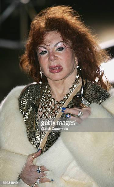 Celebrity Big Brother III housemate Jackie Stallone poses for photographs outside the Big Brother house before her surprise entry to the house at...