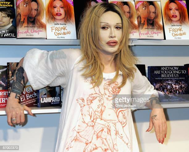 Celebrity Big Brother star and Dead or Alive singer Pete Burns views the first book jackets for his autobiography Freak Unique at the London Book...