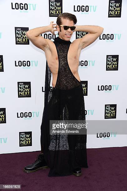 Celebrity blogger Perez Hilton arrives at the Logo NewNowNext Awards 2013 at The Fonda Theatre on April 13 2013 in Los Angeles California