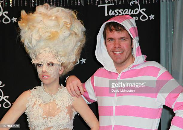 Celebrity blogger Perez Hilton unveils Lady Gaga's wax figure at Madame Tussauds Hollywood on December 9 2010 in Hollywood California