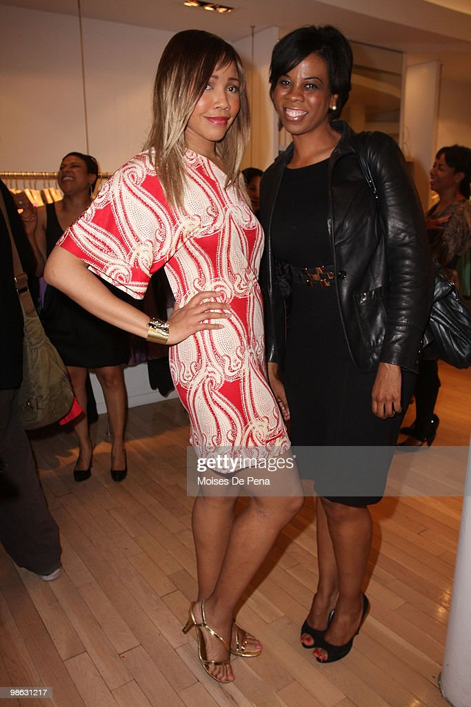 Celebrity Blogger Tia Walker and Danita King attends the 'Cuts Of Our Infirmities' book launch party at the Tracy Reese Boutique on April 22, 2010 in New York City.