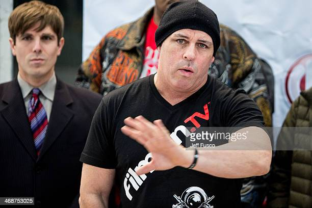 Celebrity Boxing founder Damon Feldman speaks at a press conference at the Marple Sports Arena February 11 2014 in Broomall Pennsylvania Feldman...