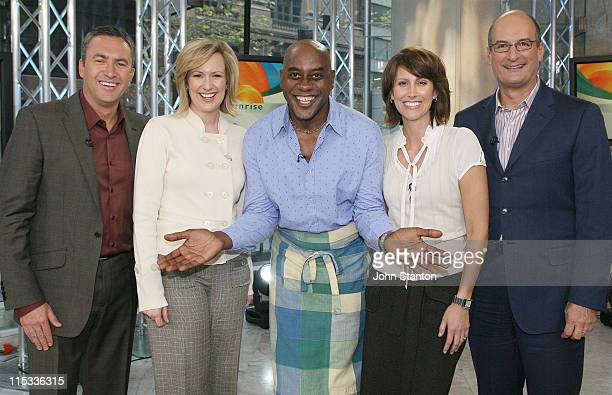 Celebrity Chef Ainsley Harriott with hosts Melissa Doyle David Koch Mark Beretta and Natalie Barr