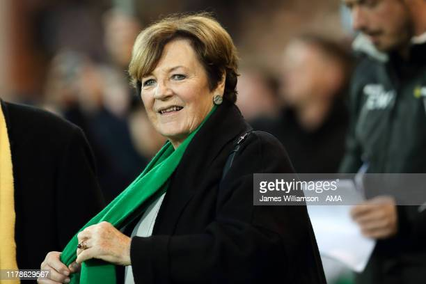 Celebrity Chef and Norwich City shareholder Delia Smith during the Premier League match between Norwich City and Manchester United at Carrow Road on...