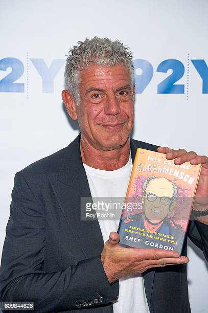 Celebrity chef Anthony Bourdain attends Shep Gordon with Anthony Bourdain 'They Call Me Supermensch' at 92nd Street Y on September 22 2016 in New...
