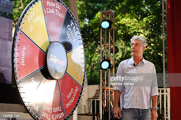 Celebrity chef Anthony Bourdain attends the 2012 Great GoogaMooga Food and Music Festival in Prospect Park on May 19 2012 in the Brooklyn borough of...