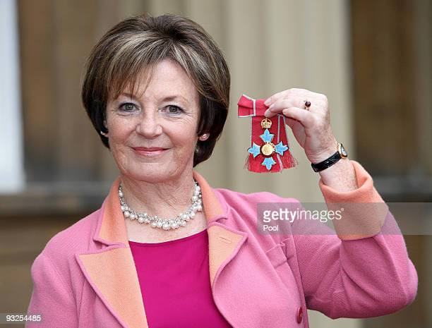 Celebrity chef Delia Smith after receiving her Commander of the British Empire Medal from the Prince of Wales at an investiture ceremony at...