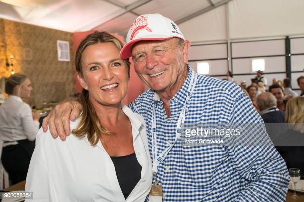 Celebrity chef Donna Hay and Gerry Harvey attend Magic Millions Polo on January 7 2018 in Gold Coast Australia