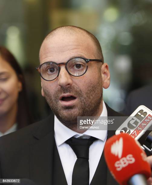 Celebrity chef George Calombaris talks to media as he leaves Downing Centre Local Court on September 8 2017 in Sydney Australia The celebrity chef...