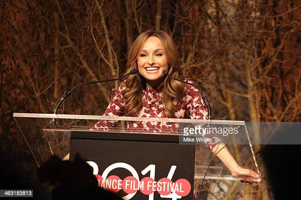 Celebrity chef Giada De Laurentiis speaks onstage at An Artist at the Table Dinner Program during the 2014 Sundance Film Festival at Stein Eriksen...