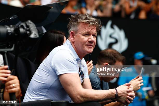 Celebrity chef Gordon Ramsay watches the fourth round match between Rafael Nadal of Spain and Diego Schwartzman of Argentina on day seven of the 2018...
