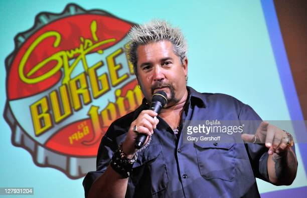 Celebrity chef Guy Fieri attends the Carnival Cruise Lines press conference at Hudson Terrace on October 3 2011 in New York City
