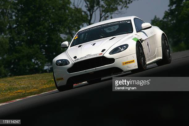 Celebrity chef James Martin drives the AMR Aston Martin Vantage GT4 in the Aston Martin GT Centenary race during the Aston Martin Centenary Meeting...
