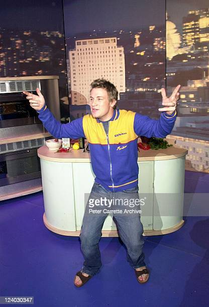 Celebrity chef Jamie Oliver during his 'Happy Days Tour' live cookery show at the State Theatre on October 30, 2001 in Sydney, Australia.