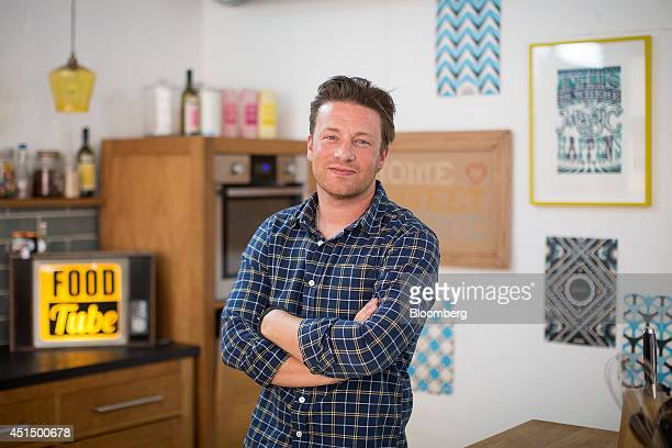 Celebrity Chef Jamie Oliver, restaurateur and media personality, poses for a photograph following an interview at his office in London, U.K., on...