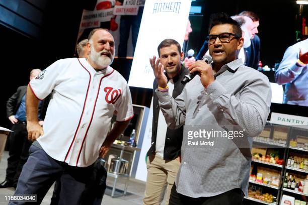 Celebrity Chef Jose Andres MLB Baseball Player Ryan Zimmerman and MLB Baseball Manager Dave Martinez speak at DC Central Kitchen's Capital Food Fight...