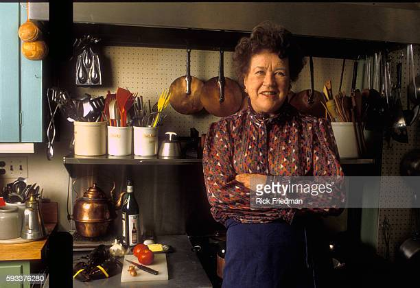 Celebrity chef Julia Child at her home in Cambridge Massachusetts