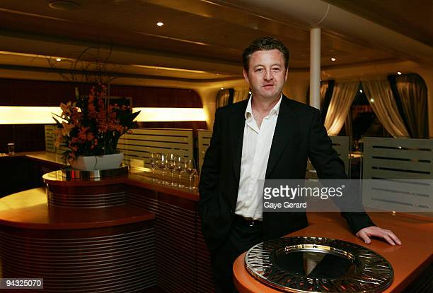 """Celebrity Chef Luke Mangan poses in his new restaurant """"Salt Grill"""" onboard during the official launch of P&O's new superliner 'Pacific Jewel' at the..."""