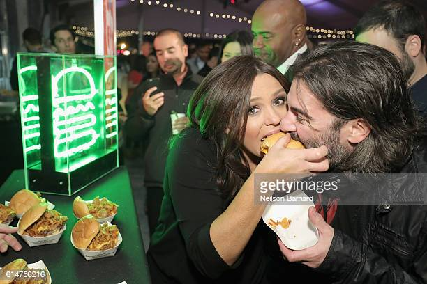Celebrity Chef Rachael Ray and John Cusimano attend the Blue Moon Burger Bash presented by Pat LaFrieda Meats hosted by Rachael Ray at the Food...