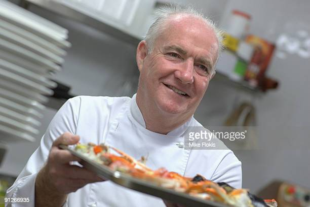 Celebrity Chef Rick Stein preparing his seafood menu during the official opening of his new restaurant 'Rick Stein at Bannisters' on September 29...