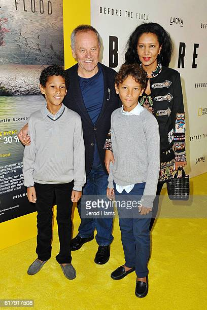 Celebrity Chef Wolfgang Puck arrives with his family at the National Geographic 'Before The Flood' Screening at Bing Theatre At LACMA on October 24...