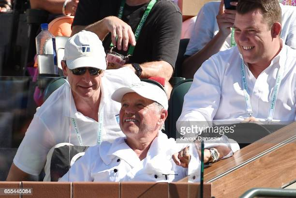 Celebrity chef Wolfgang Puck Ken Solomon Chairman and CEO at The Tennis Channel attend the BNP Paribas Open men's fins between Roger Federer of...