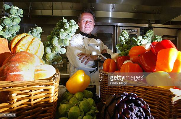 Celebrity Chef Wolfgang Puck poses for a portrait during the Oscars 2004 Governors Ball Food and Decor Preview at the Grand Ball Room at the Kodak...
