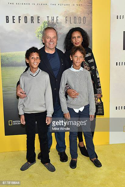 Celebrity chef Wolfgang Puck with his wife Gelila Assefa and children attend the screening of National Geographic Channel's Before The Flood at Bing...