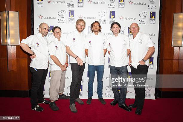 Celebrity chefs Adriano Zumbo Shaun Presland Darren Robertson Mark LaBrooy Colin Fassnidge and Matt Moran at the Starlight Foundation Five Chefs...