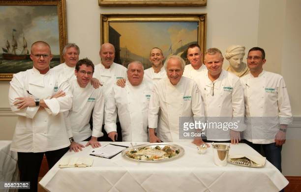 Celebrity chefs Heston Blumenthal, Brian Turner, Andrew Fairlie, David Nicholls, Albert Roux, Michel Roux Jr, Michel Roux, Garry Rhodes, Richard...