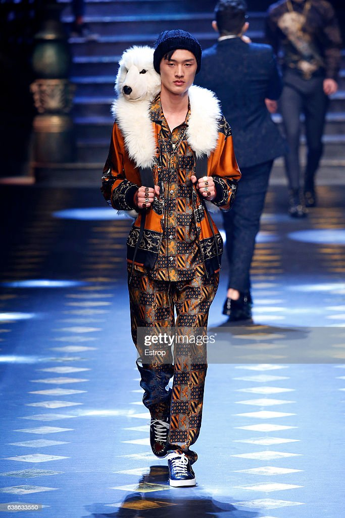 Celebrity Cheng Cong walks the runway at the Dolce & Gabbana show during Milan Men's Fashion Week Fall/Winter 2017/18 on January 14, 2017 in Milan, Italy.