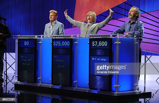 """Celebrity contestants Pat Sajak, Jane Curtain and Harry Shearer play a rehearsal round on the set of the """"Jeopardy!"""" Million Dollar Celebrity..."""