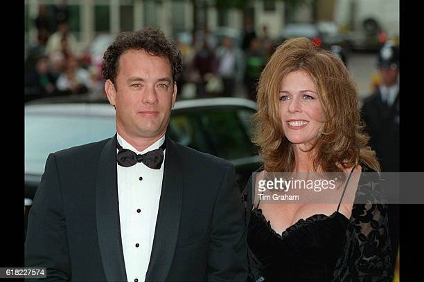 Celebrity couple actor Tom Hanks and wife Rita Wilson at charity movie premiere for 'Apollo 13' film