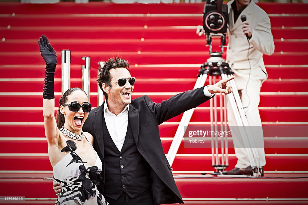 Celebrity couple on red carpet in Cannes : Stockfoto