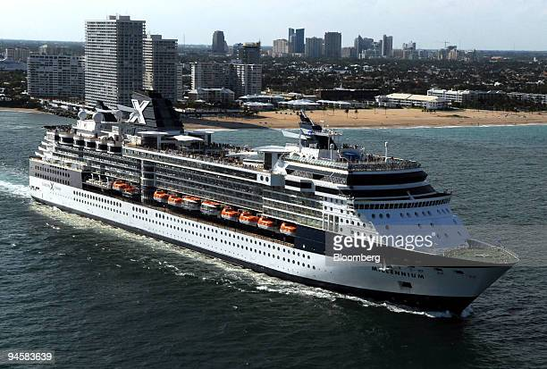 Celebrity Cruise Lines Ltd.'s Millennium leaves Port Everglades, Florida, Sunday, March 11, 2007. At rear is Fort Lauderdale, Florida.