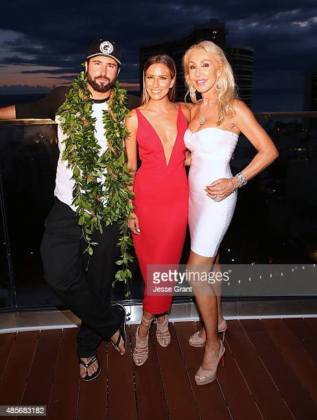 Celebrity DJ Brody Jenner TV personality Renee Bargh and actress Linda Thompson attend the Grand Opening of SKY Waikiki on August 28 2015 in Honolulu...