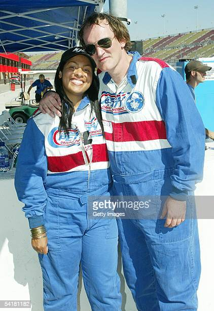Celebrity drivers Adai Lamar and director Quentin Tarantino attend the Richard Petty Driving Experience at the California Speedway on September 1...