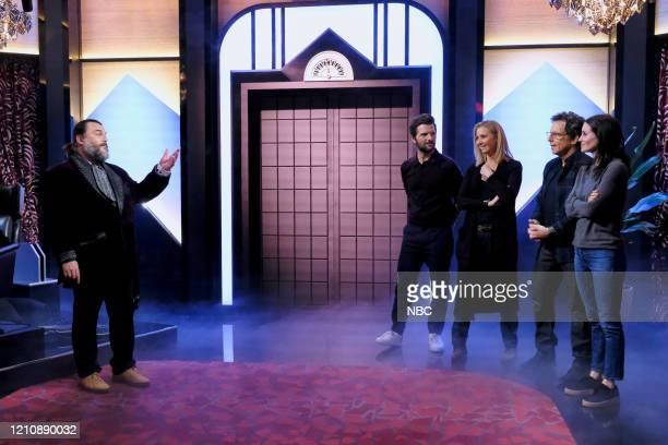 """Celebrity Escape Room"""" -- Pictured: Jack Black, Adam Scott, Lisa Kudrow, Ben Stiller, Courteney Cox --"""