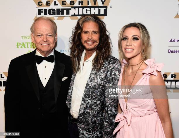Celebrity Fight Night Chairman and Founder Jimmy Walker Steven Tyler and Aimee Preston attend Celebrity Fight Night XXIV on March 10 2018 in Phoenix...
