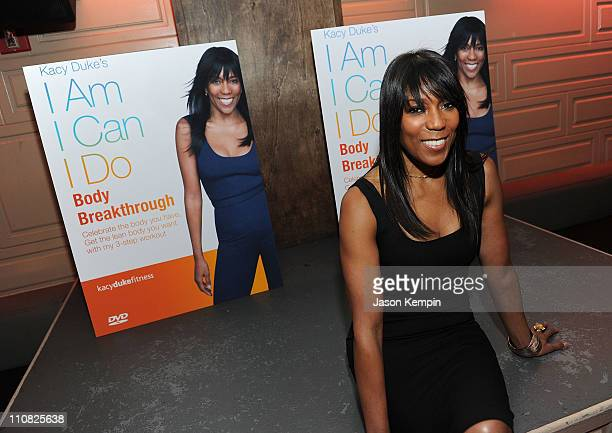 Celebrity fitness trainer and co founder of Equinox Kacy Duke attends the launch event of celebrity fitness trainer KACY DUKE's I am I can I do...