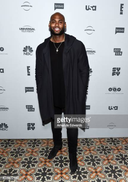 Celebrity fitness trainer Corey Calliet arrives at NBCUniversal's Press Junket at Beauty Essex on November 13 2017 in Los Angeles California