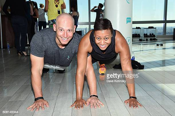 Celebrity fitness trainer Harley Pasternak and stylist to the stars Anita Patrickson help introduce Fitbit Alta a slim sleek fitness wristband that...