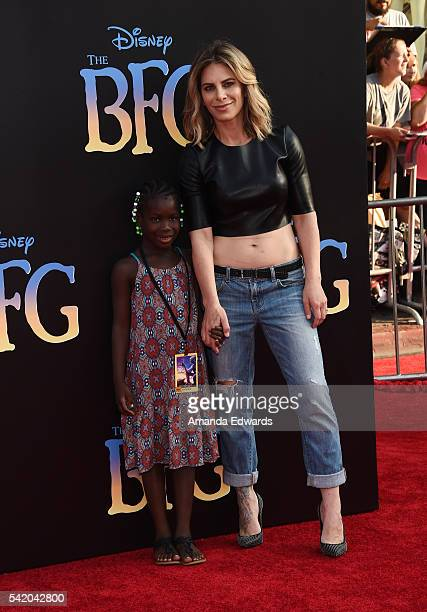 Celebrity fitness trainer Jillian Michaels and her daughter Lukensia Michaels Rhoades arrive at the premiere of Disney's The BFG at the El Capitan...