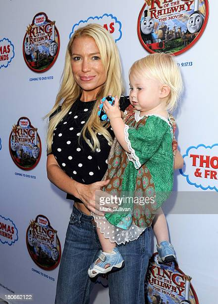 """Celebrity fitness trainer Tracy Anderson and daughter Penelope Mogol attend the """"Thomas & Friends: King of the Railway"""" blue carpet premiere at The..."""