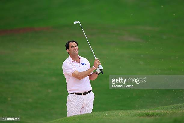 Celebrity golfer Andy Buckley hits a shot from a bunker during the third round of the BMW Charity ProAm Presented by SYNNEX Corporation held at the...