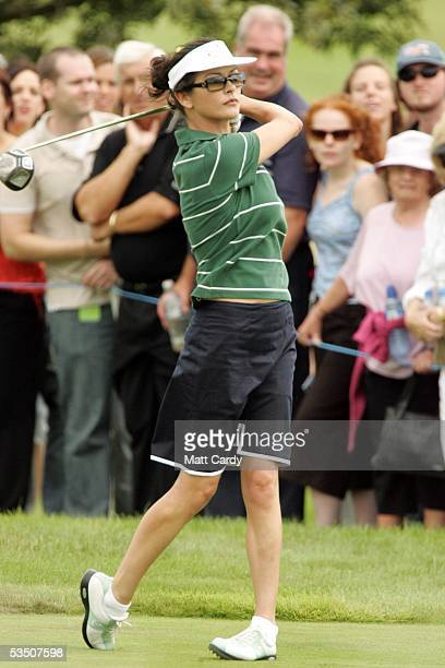 Celebrity golfer Catherine Zeta-Jones Evans tees off on the first hole on the final day of The All-Star Cup Celebrity Golf tournament at the Celtic...