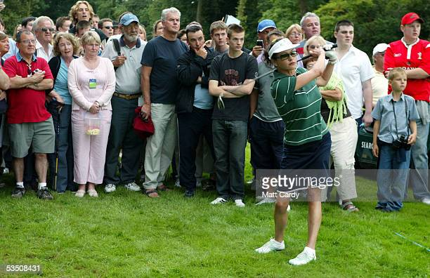 Celebrity golfer Catherine Zeta-Jones on the final day of The All-Star Cup Celebrity Golf tournament at the Celtic Manor Resort on August 29, 2005...